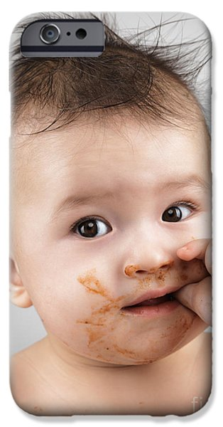One Messy Baby Boy Sucking His Thumb iPhone Case by Oleksiy Maksymenko