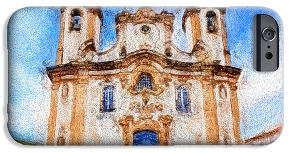Historic Site iPhone Cases - One More Church in Ouro Preto iPhone Case by Andrea Ribeiro