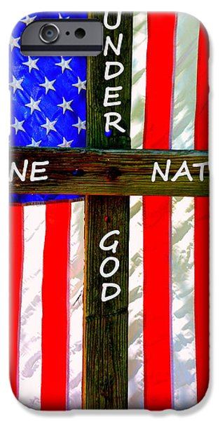 United States iPhone Cases - One Nation Under God iPhone Case by Lisa Wooten