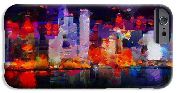 Hong Kong Paintings iPhone Cases - One night in Hong Kong iPhone Case by Sir Josef  Putsche Social Critic