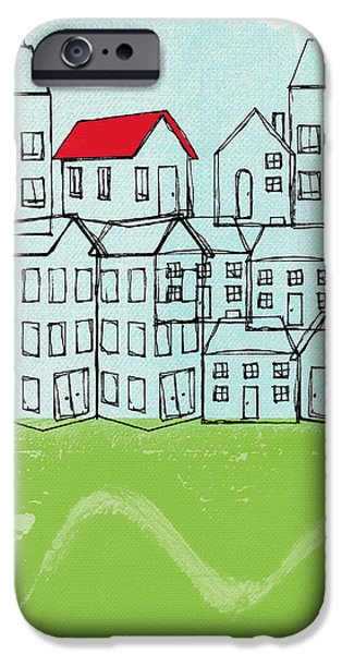 Corporate Art iPhone Cases - One Red Roof iPhone Case by Linda Woods