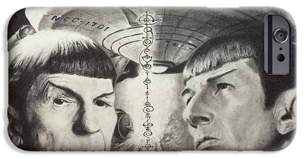 Enterprise Drawings iPhone Cases - One to Beam Up iPhone Case by Damon Kilgo