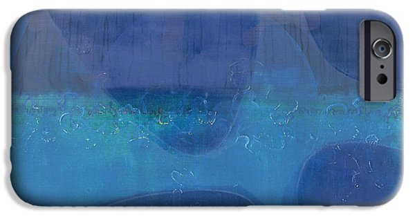 Blue Abstracts iPhone Cases - One World iPhone Case by Charlie Millar