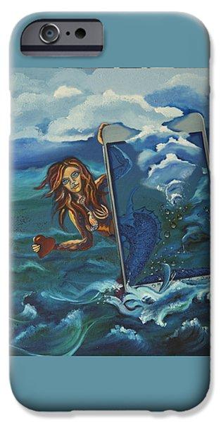 Virtual Paintings iPhone Cases - Online Mermaid iPhone Case by Vipula Saxena
