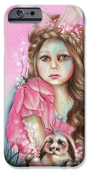 Innocence Mixed Media iPhone Cases - Only Friend in the World - Bunny iPhone Case by Sheena Pike
