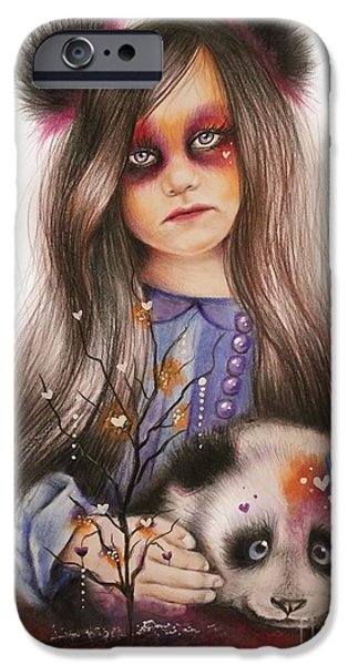 Innocence Mixed Media iPhone Cases - Only Friend in the World - Panda Precious iPhone Case by Sheena Pike