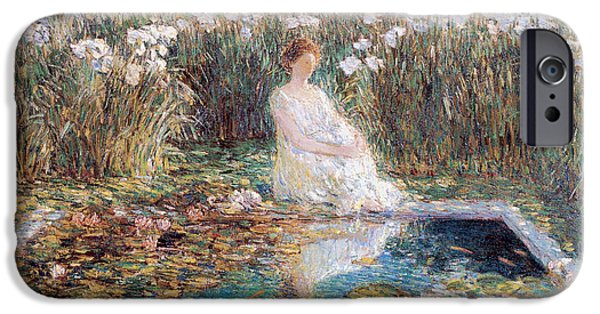 Woman In A Dress iPhone Cases - Lilies iPhone Case by Childe Hassam