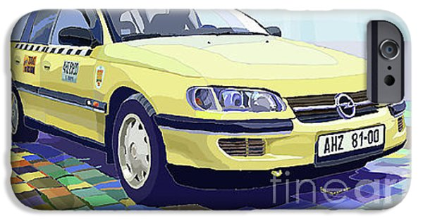 City Mixed Media iPhone Cases - Opel Omega A Caravan Prague Taxi iPhone Case by Yuriy  Shevchuk