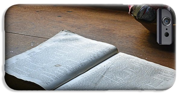 Historic Site iPhone Cases - Open Bible on Antique Table with Balls of Scrap Cloth iPhone Case by Bruce Gourley