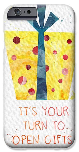 Celebration Mixed Media iPhone Cases - Open Gifts- card iPhone Case by Linda Woods