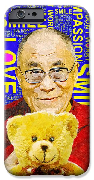 Tibetan Buddhism Mixed Media iPhone Cases - Open Heart, Open Mind - Royal Blue  iPhone Case by Stacey Chiew