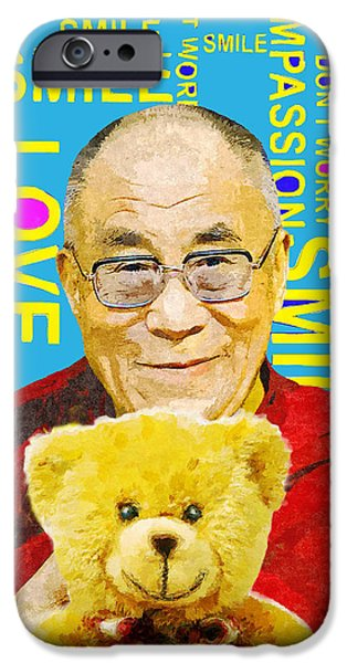 Tibetan Buddhism Mixed Media iPhone Cases - Open Heart, Open Mind - Sky Blue iPhone Case by Stacey Chiew