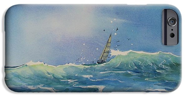 Sailboat Ocean iPhone Cases - Open Waters iPhone Case by Laura Lee Zanghetti