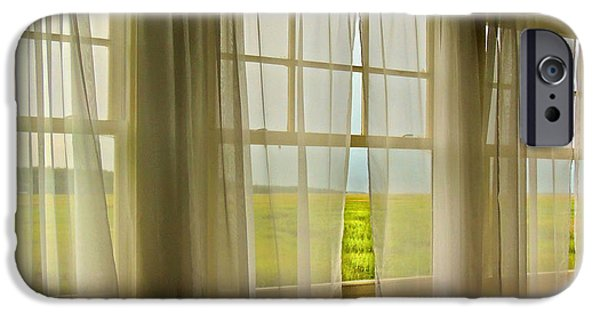 Cabin Window iPhone Cases - Open Window Breeze iPhone Case by Laura Ragland