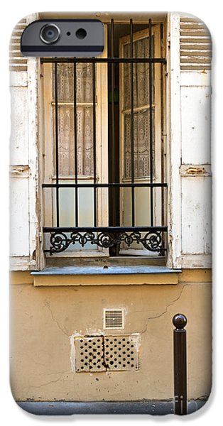 French Open iPhone Cases - Open window of a ground floor apartment in Paris iPhone Case by Louise Heusinkveld