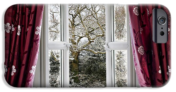 White Cloth iPhone Cases - Open window with winter scene iPhone Case by Simon Bratt Photography LRPS