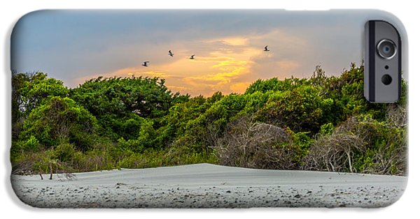 Flying Seagull iPhone Cases - Opening - Folly Beach SC iPhone Case by Donnie Whitaker