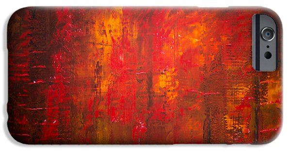 Recently Sold -  - Abstract Expressionist iPhone Cases - Opt.47.15 Forest Fire iPhone Case by Derek Kaplan