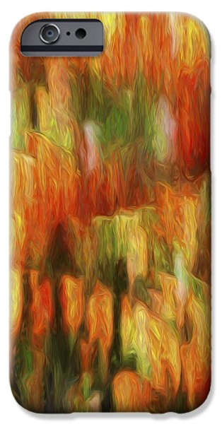 Abstract Digital iPhone Cases - Orange Abstract3 iPhone Case by Karen Jensen