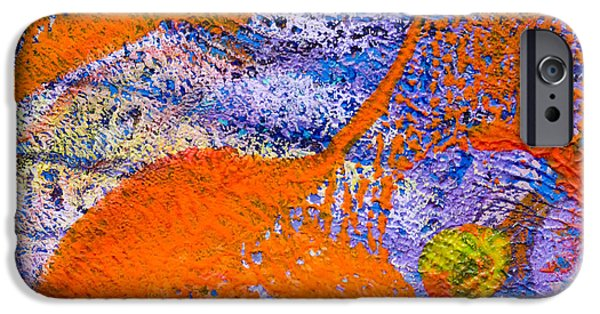 Abstract Digital Mixed Media iPhone Cases - Orange and Blue Abstract iPhone Case by Laura L Leatherwood