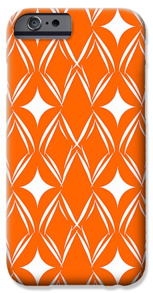 Corporate Art iPhone Cases - Orange and White Diamonds iPhone Case by Linda Woods
