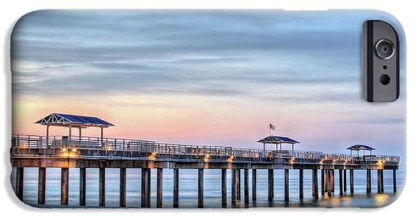 Beach At Night iPhone Cases - Orange Beach Pier iPhone Case by JC Findley