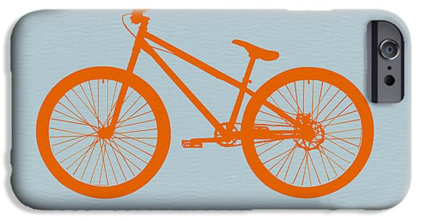Modern Digital Art iPhone Cases - Orange Bicycle  iPhone Case by Naxart Studio