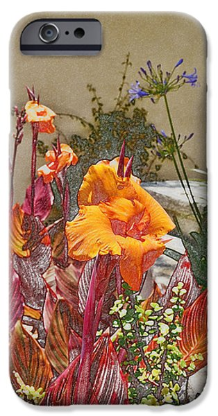 Abstract Digital Photographs iPhone Cases - Orange Canna Lilies Digital I iPhone Case by Linda Brody