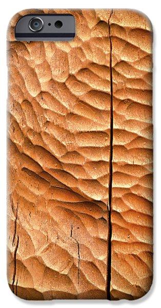 Board iPhone Cases - Orange Carved Wooden Board iPhone Case by Jozef Jankola