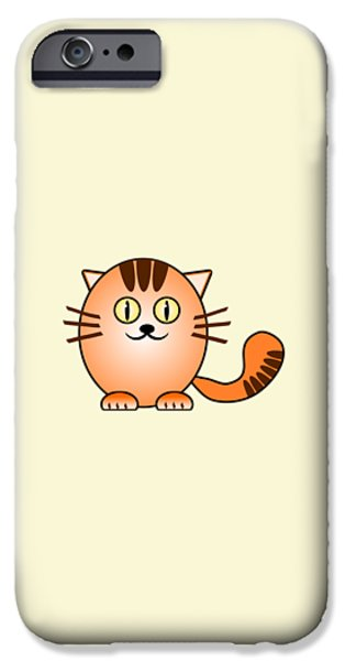 Small iPhone Cases - Orange Cat - Animals - Art for Kids iPhone Case by Anastasiya Malakhova