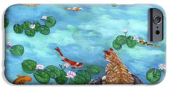 Orange Tabby iPhone Cases - Orange Cat at Koi Pond iPhone Case by Laura Iverson