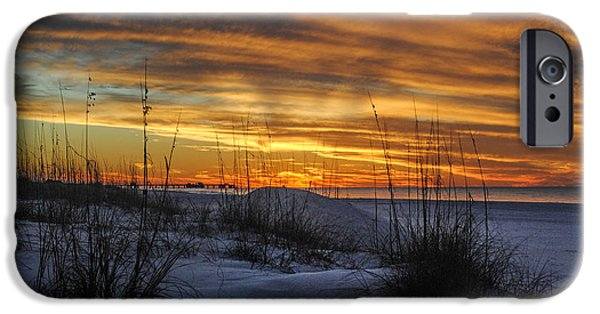 Micdesigns iPhone Cases - Orange Clouded Sunrise over the Pier iPhone Case by Michael Thomas