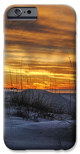 Orange Clouded Sunrise over the Pier iPhone Case by Michael Thomas