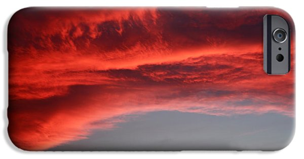 Nature Abstracts iPhone Cases - Orange clouds iPhone Case by Deborah Benbrook