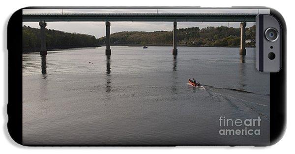 Bay Bridge iPhone Cases - Orange Dinghy Approaching Bridge iPhone Case by Chris Soucy