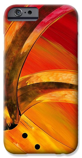 Abstract Canvas Paintings iPhone Cases - Orange Expressions iPhone Case by Sharon Cummings