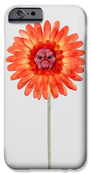 Child Sculptures iPhone Cases - Orange Grumpy Flower iPhone Case by Voodoo Delicious