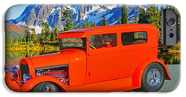 Painter Photographs iPhone Cases - Orange Hot Rod at Painters Lake iPhone Case by Randy Harris