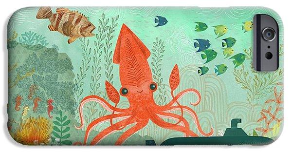 Aquatic Plants iPhone Cases - Orange Octopus Underwater With Submarine iPhone Case by Gillham Studios