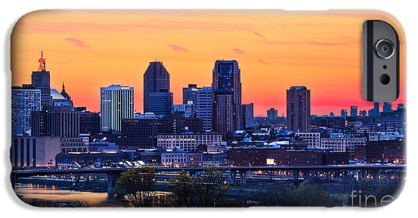 Mounds iPhone Cases - Orange Sunset Over the Twin Cities iPhone Case by Ernesto Ruiz