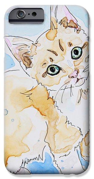 Orange Tabby Paintings iPhone Cases - Orange Tabby  iPhone Case by Shaina Stinard