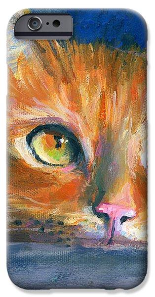 Orange Tubby Cat painting iPhone Case by Svetlana Novikova