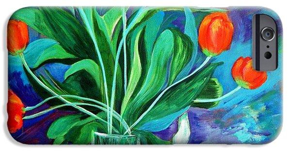 Carolinestreetart iPhone Cases - Orange Tulips in Recess iPhone Case by Caroline Street