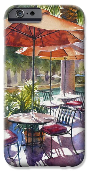 Orange Umbrellas iPhone Case by Sue Zimmermann