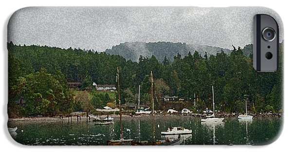 Recently Sold -  - Sailboats iPhone Cases - Orcas Island Digital Enhancement iPhone Case by Carol  Eliassen