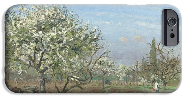 Pissarro iPhone Cases - Orchard In Bloom - Louveciennes iPhone Case by Camille Pissarro