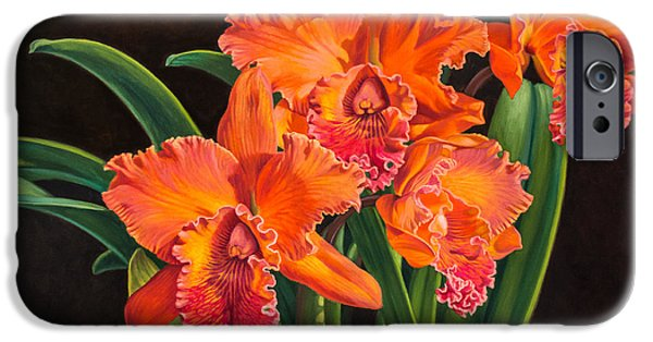 Cattleya iPhone Cases - Orchid Fever 4 Volcano Queen 1 iPhone Case by Fiona Craig