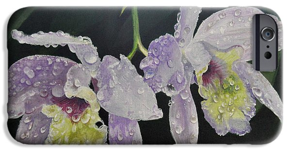 Raining iPhone Cases - Orchid Jewels iPhone Case by AnnaJo Vahle