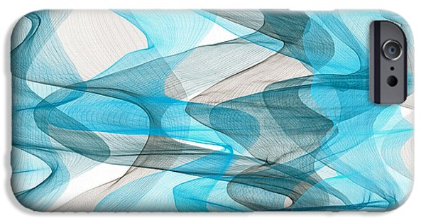 Light Blue Abstracts iPhone Cases - Orderly Blues And Grays iPhone Case by Lourry Legarde