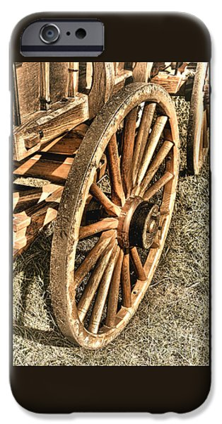 Wooden Wagons iPhone Cases - Oregon Trail  iPhone Case by Olivier Le Queinec
